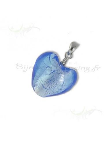 Coeur verre de murano - pendentif fait main