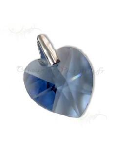 Pendentif argent coeur de cristal