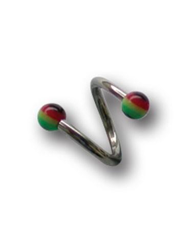Piercing Twist à Boules Acrylique facon rastacouere.