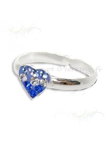 Bague orteil forme de coeur - cristal de swaroski