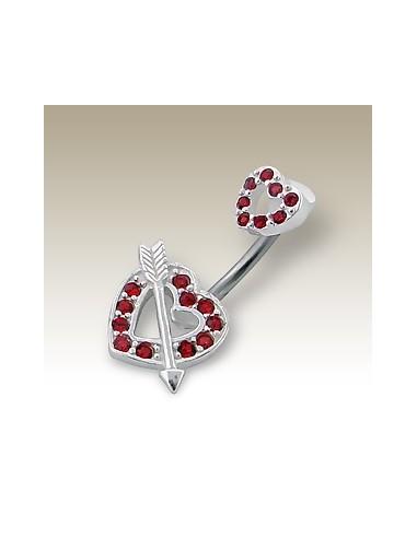Piercing nombril coeur et flèche