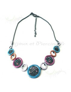 Collier fantaisie, bleu, parme, marron