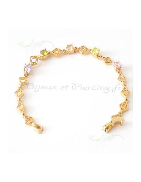 Bracelet plaqué or et multicolore