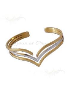 Bracelet Fantaisie femme acier cuivre et blanc