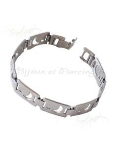 Bracelet croissant de lune en acier