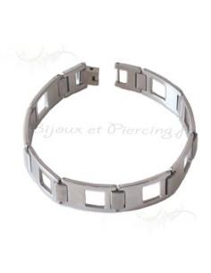 Bracelet acier plaques ajourées