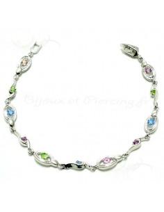 Bracelet argent empiérré - pierres de couleurs