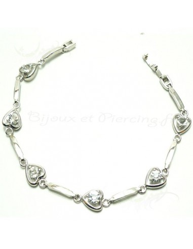 Bracelet plaqué argent coeur de cristal