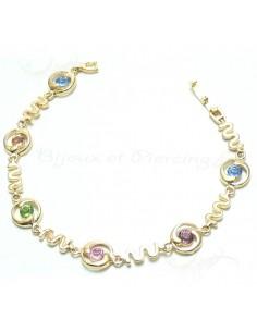 Bracelet plaqué or fantaisie coloré
