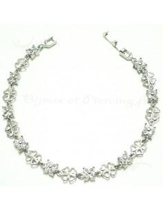 Bracelet fin en argent Trèfle 4 feuilles