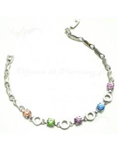 Bracelet plaqué argent pierres rondes colorées