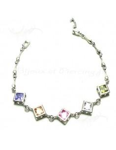 Bracelet Plaqué argent et pierres de couleur