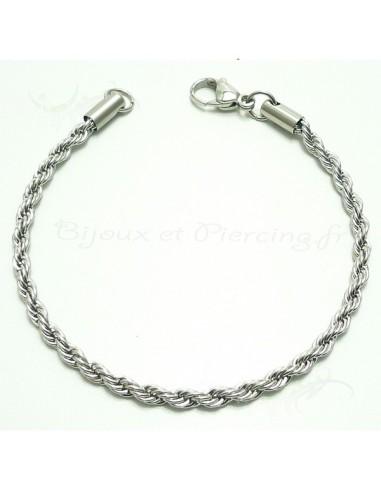 Bracelet fantaisie style cable acier