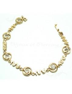 Bracelet fantaisie plaqué or pierres blanches