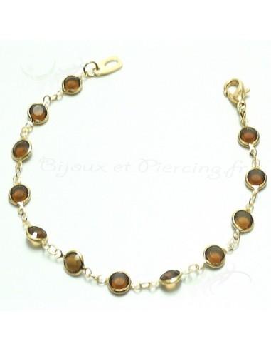 Bracelet plaqué or ornée de cristaux joliment taillé
