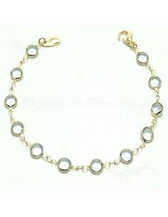 Bracelet plaqué or cristaux bleu clair