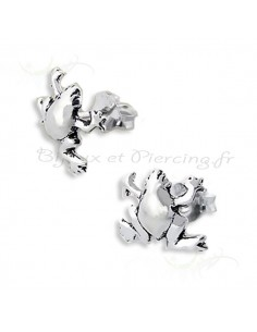 Boucles d'oreilles grenouille en argent