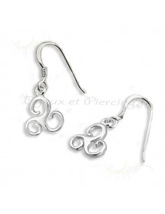 Boucles d'oreilles argent pendantes triskel