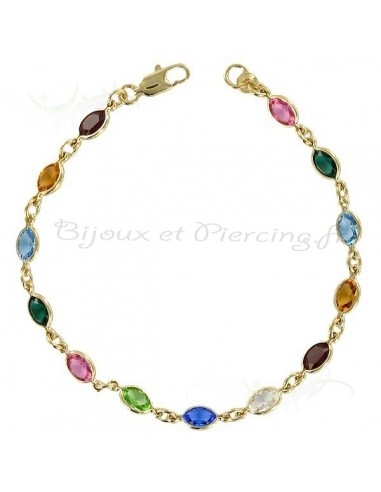 Bracelet plaqué or avec pierres multicolors de swaroski