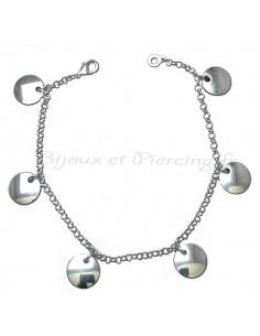 Bracelet fantaisie Pastilles d'argent