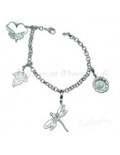 Bracelet breloque - libellule, fleur, tréfle porte bonheur