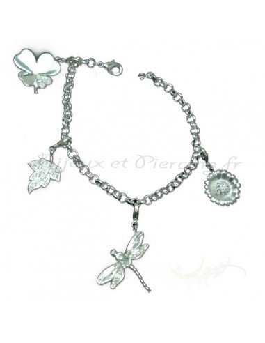 bracelet breloque libellule fleur tr fle porte bonheur. Black Bedroom Furniture Sets. Home Design Ideas