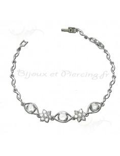 Bracelet argent de style femme avec crystal