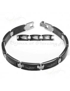 Bracelet acier noir avec motifs gothiques