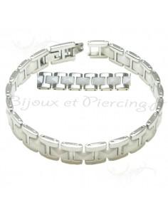 Bracelet acier et pvc blanc mixte