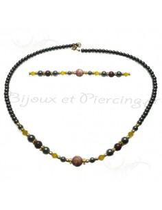 Collier de perle noir synthétique et zircons pastel