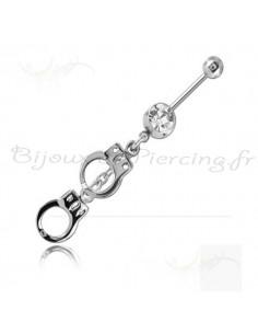 Piercing nombril menottes pendantes