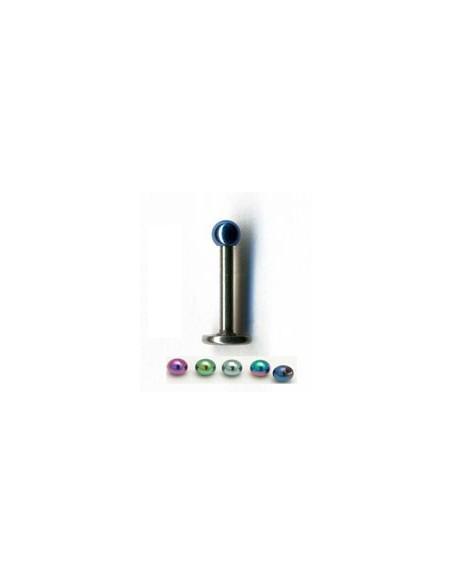 Piercing labret avec tige droite black stell boule de couleur