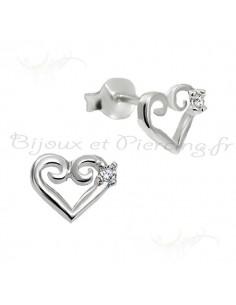 Boucles d'oreilles - coeur d'argent