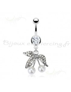 Piercing nombril cerises perles blanches