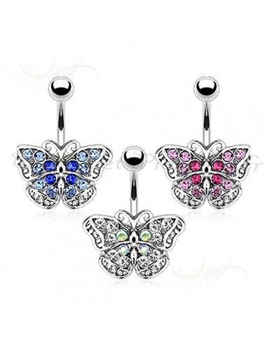 Piercing nombril papillon aux ailes dégradées