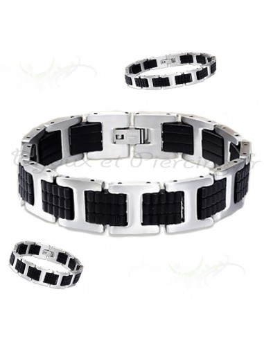 Bracelet acier noir cuir et métal