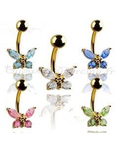 Piercing nombril papillon cristallisé