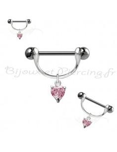 Bijou piercing pour téton coeur
