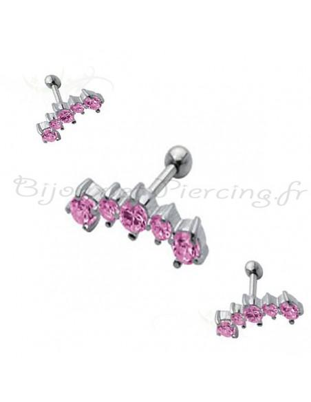 piercing boucle d'oreille sphéres gem de couleur