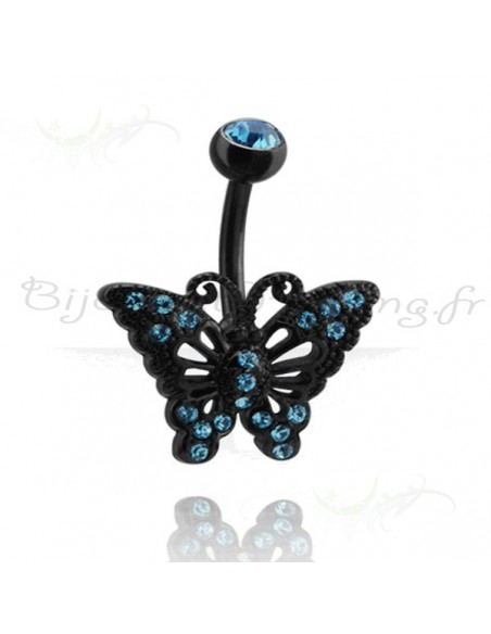 Banane de nombril blacksteel papillon et strass