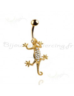 Piercing nombril salamandre plaqué or