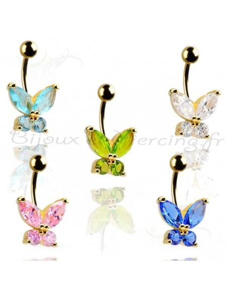 Piercing papillon plaqué or - banabell nombril