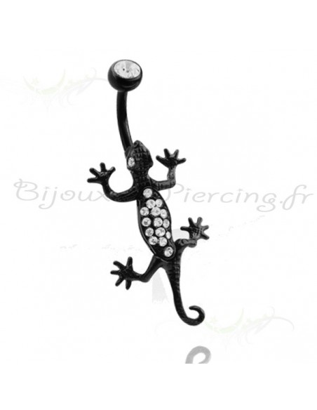 Piercing nombril pendentif lezard salamandre rampant black steel