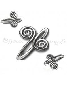 Bague d'orteil argent double spirales