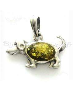 Bijoux pendentifs ambre petit chien