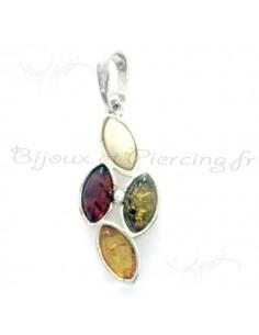 Bijoux pendentifs ambre multicolor