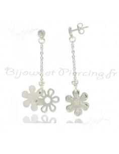 Boucles d'oreilles argent fleur