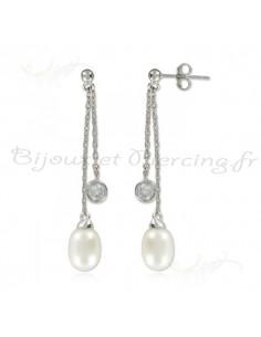 Boucles d'oreilles pendantes argent et perle
