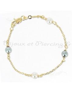 Bracelet Plaqué or perles nacrées et grises