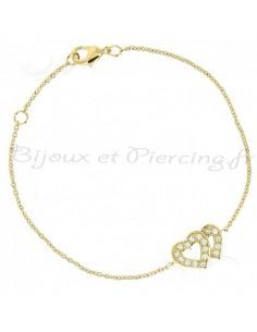 Bracelet plaqué or double coeurs